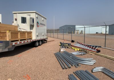 Dimensional Energy beginning to unload it's 22,000 pound trailer at the Integrated Test Center